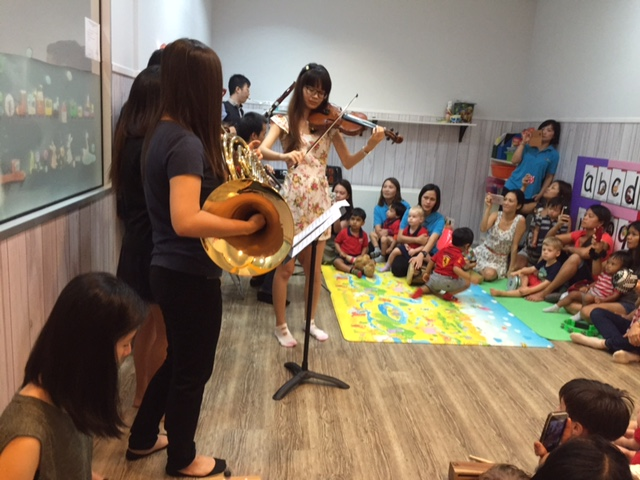 Talented music students from NUS indulged children and parents with beautiful classical music