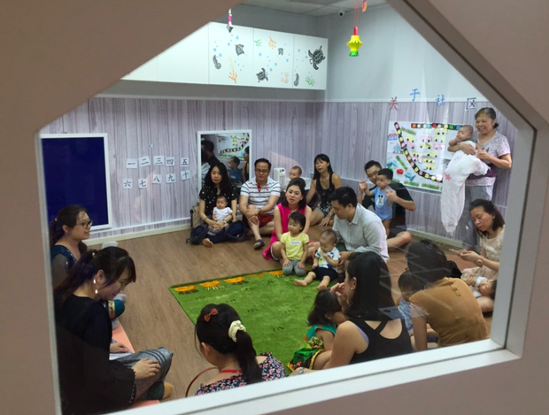 Parents and children sampling our fun parent-accompanied class